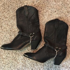 Cowboy Boots - Black Leather - Size 8 Unbranded